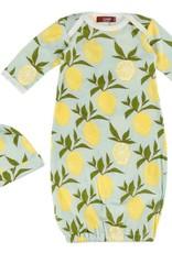 Milkbarn Organic Gown and Hat Set Lemon
