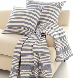 Dash & Albert Rugby Stripe Denim Cotton Throw