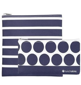 Lunchskins 2-Pack Reusable Bag Set Navy Stripe (Zippered)