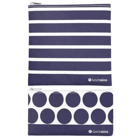 3greenmoms 2-Pack Reusable Bag Set Navy Stripe (Zippered)