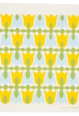 Swedish Dishcloth Tulip Blossoms Yellow