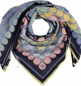 Fraas Patchwork Dot Scarf Navy