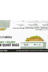 3greenmoms Recyclable Quart Bags Green Stripes Box of 50