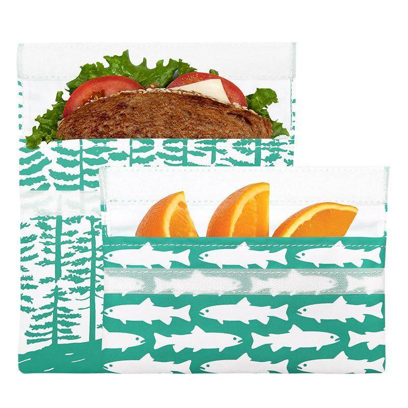 3greenmoms 2-Pack Reusable Bag Set Calypso Forest Bag and Fish Snack (Velcro)