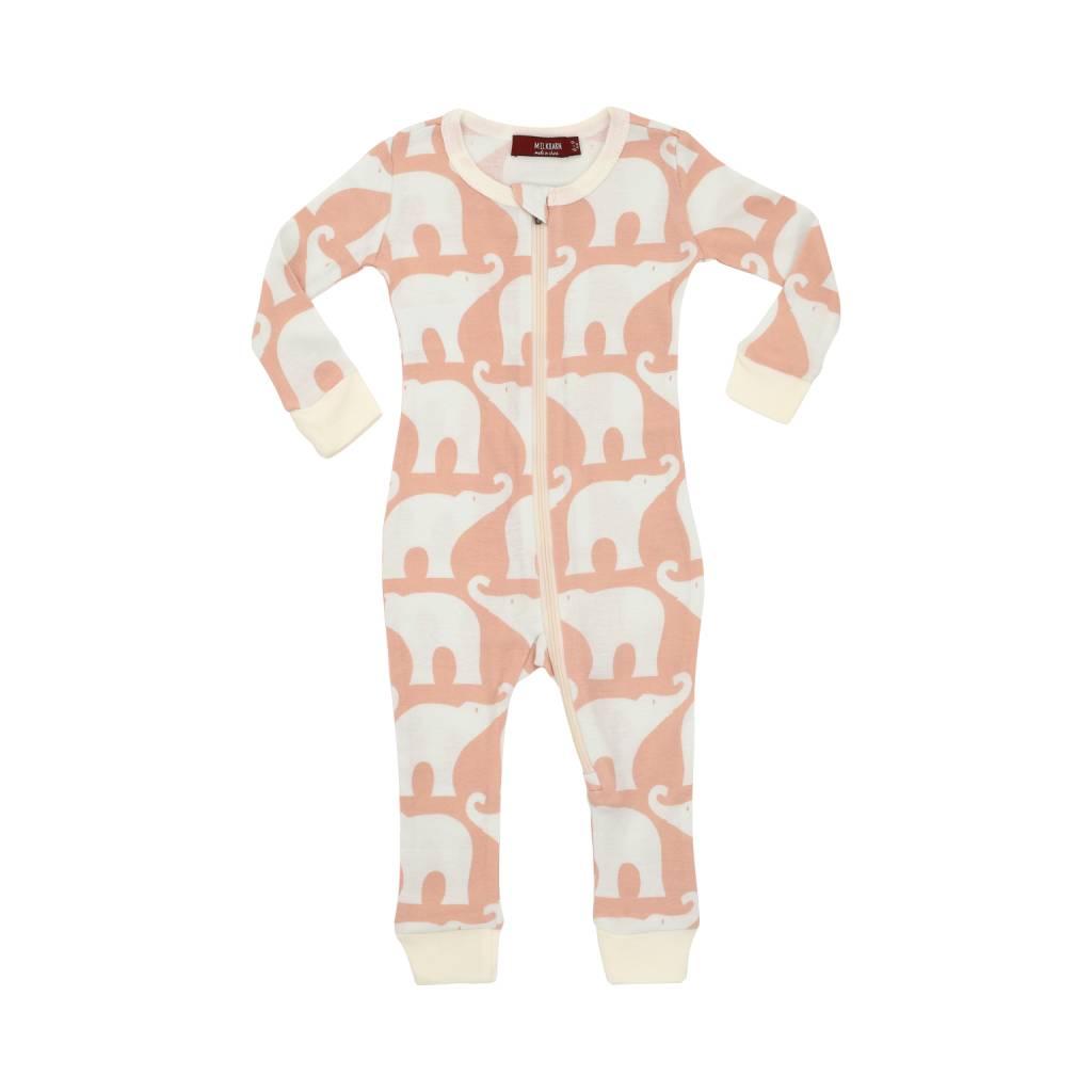 Milkbarn Organic Zipper Pajama Rose Elephant