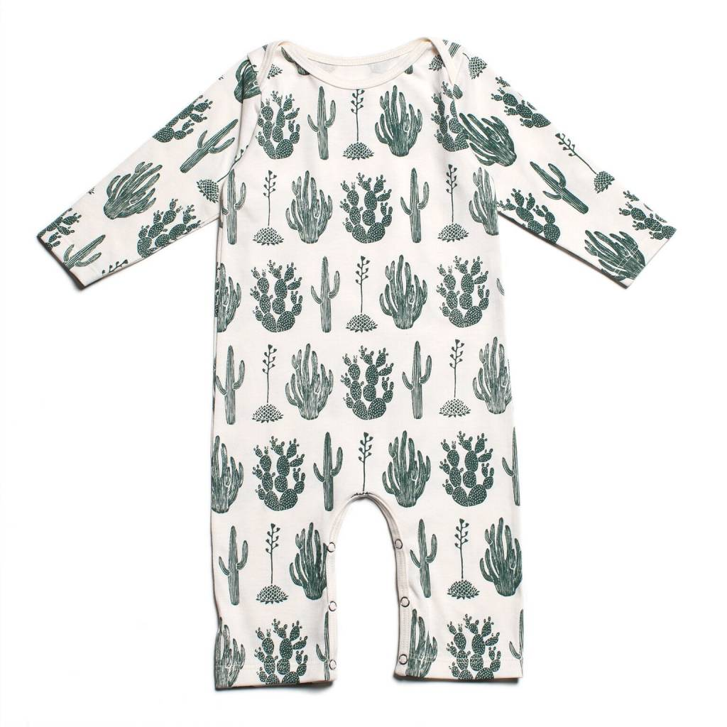 Winter Water Factory Long Sleeve Romper Cactus Green