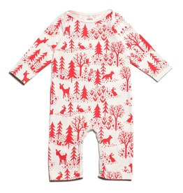 Winter Water Factory Long Sleeve Romper Winter Scenic Red