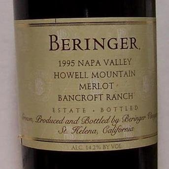 BERINGER HOWELL MOUNTAIN MERLOT 1996 750ML