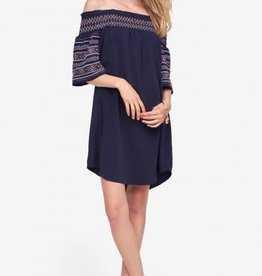 Tribal Tribal Off Shoulder Embroidery Dress Nautical M Women