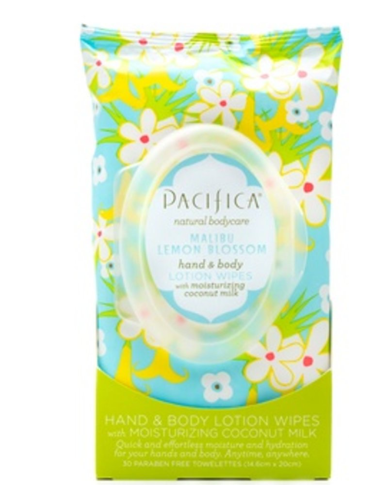 Pacifica MALIBU LEMON BLOSSOM HAND & BODY LOTION WIPES 30 ct