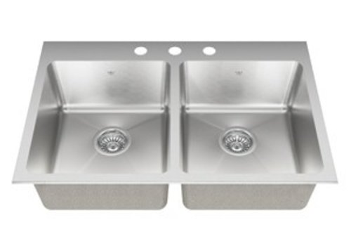Kindred Kindred - 20 ga hand fabricated dual mount double bowl ledgeback sink, 20 mm corners, 3 faucet holes