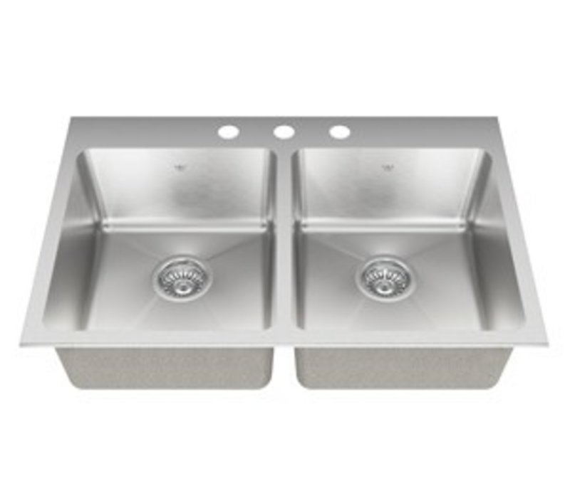 Kindred - 20 ga hand fabricated dual mount double bowl ledgeback sink, 20 mm corners, 3 faucet holes