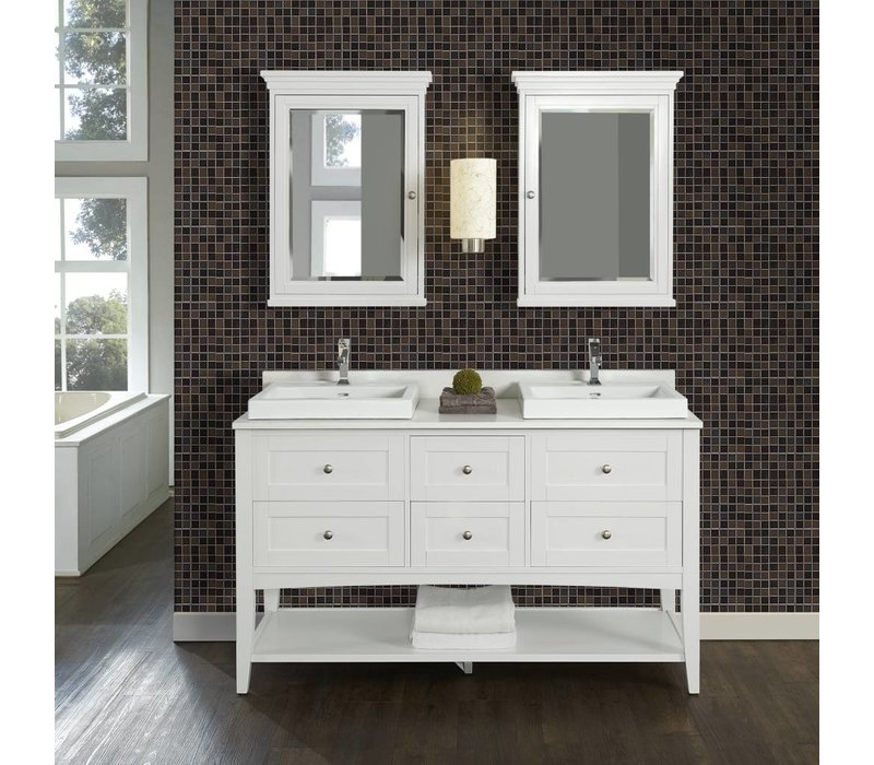 "Fairmont - Shaker Americana - 60"" Double Bowl - Open Shelf Vanity"