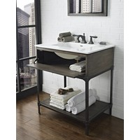Fairmont - Driftwood Gray Open Shelf Vanity 30""
