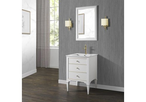 "Fairmont Design's Fairmont - Charlottesville - White - Brass Accents - 24"""