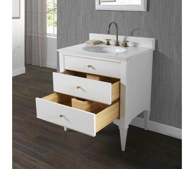 "Fairmont Design's - Charlottesville w/Brass 30"" Vanity - Polar White - Polar White - 1509-V30"