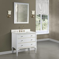 Fairmont - Charlottesville - White - Brass Accents - 36""