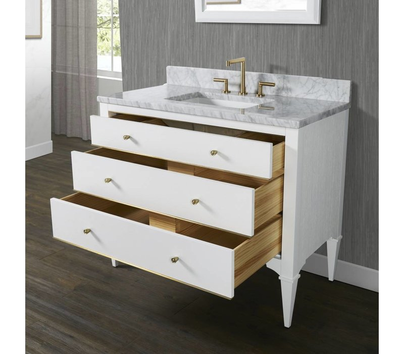 Fairmont - Charlottesville - White - Brass Accents - 42""