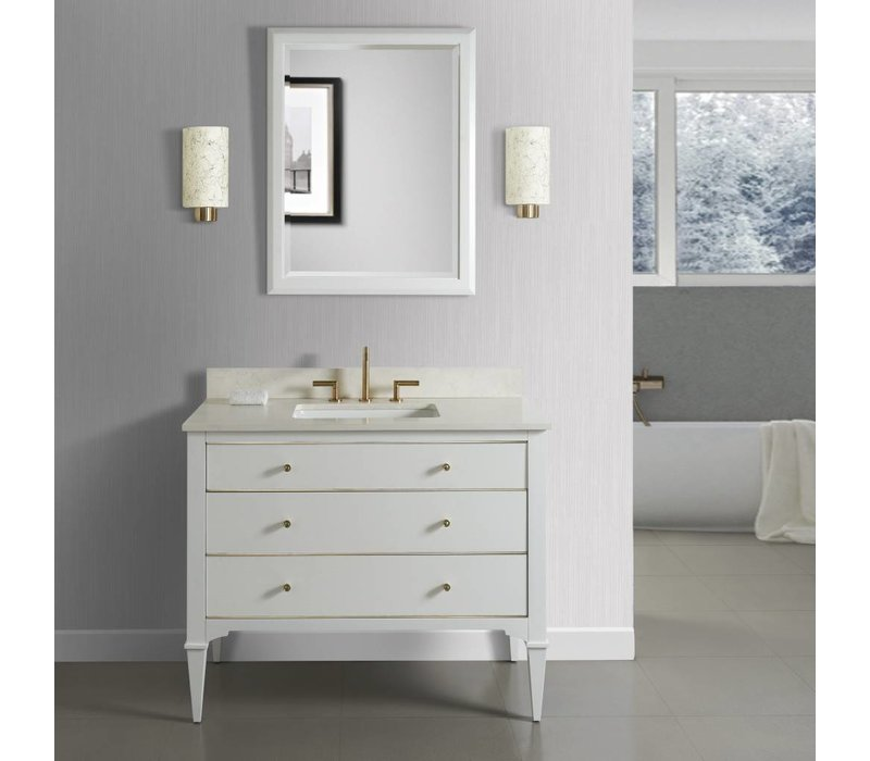 "Fairmont Design's - Charlottesville w/Brass 42"" Vanity - Polar White - Polar White - 1509-V42"