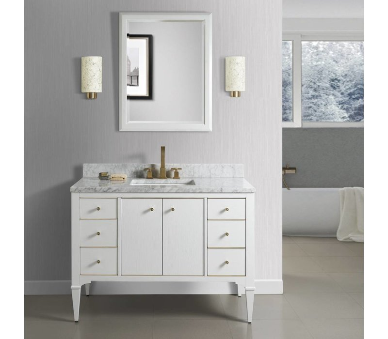 Fairmont - Charlottesville - White - Brass Accents - 48""