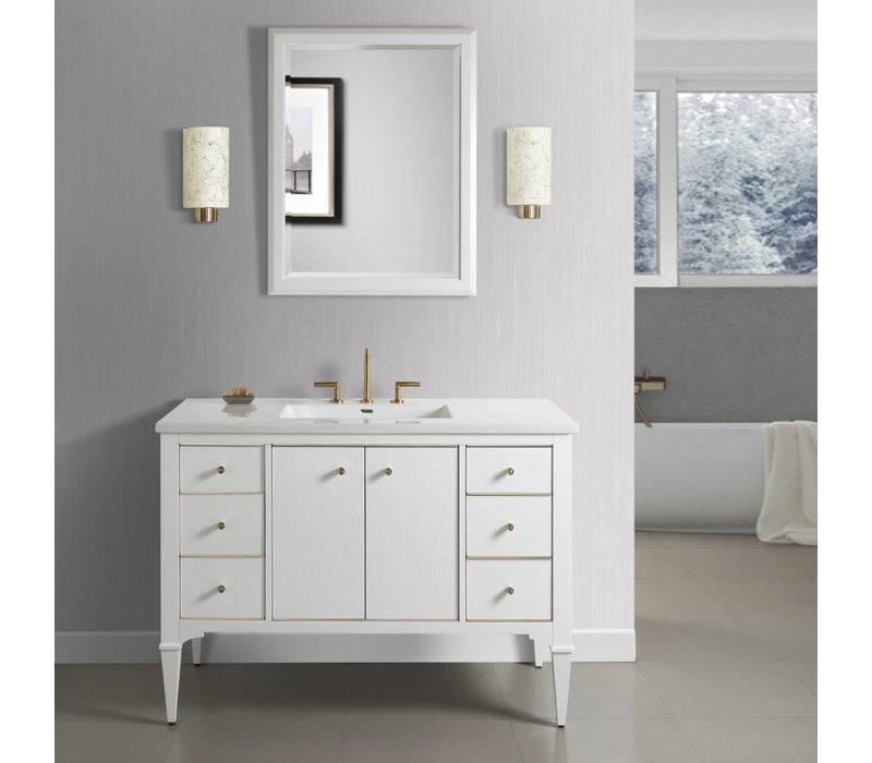 "Fairmont Design's - Charlottesville w/Brass 48"" Vanity - Polar White - Polar White - 1509-V48A"