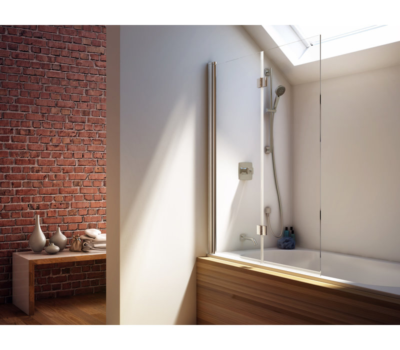 Kalia - FLIP 90' 2-panel Frameless Pivot Bath shield 46''' x 56''
