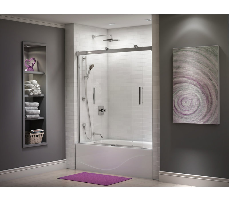 Kalia - AKCESS Bathtub Door 60'' x 60'' Chrome Clear Duraclean Glass