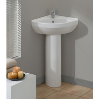 Cheviot - PETITE Corner Pedestal Sink - 944-WH-1
