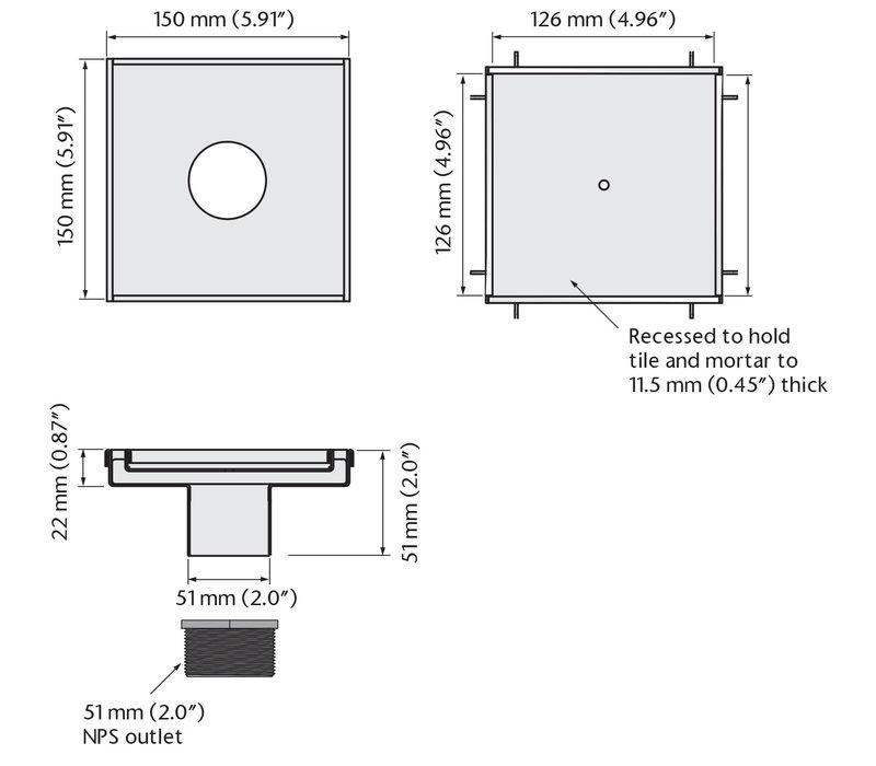ACO - QuARTz Point - Tile Square Shower Drain
