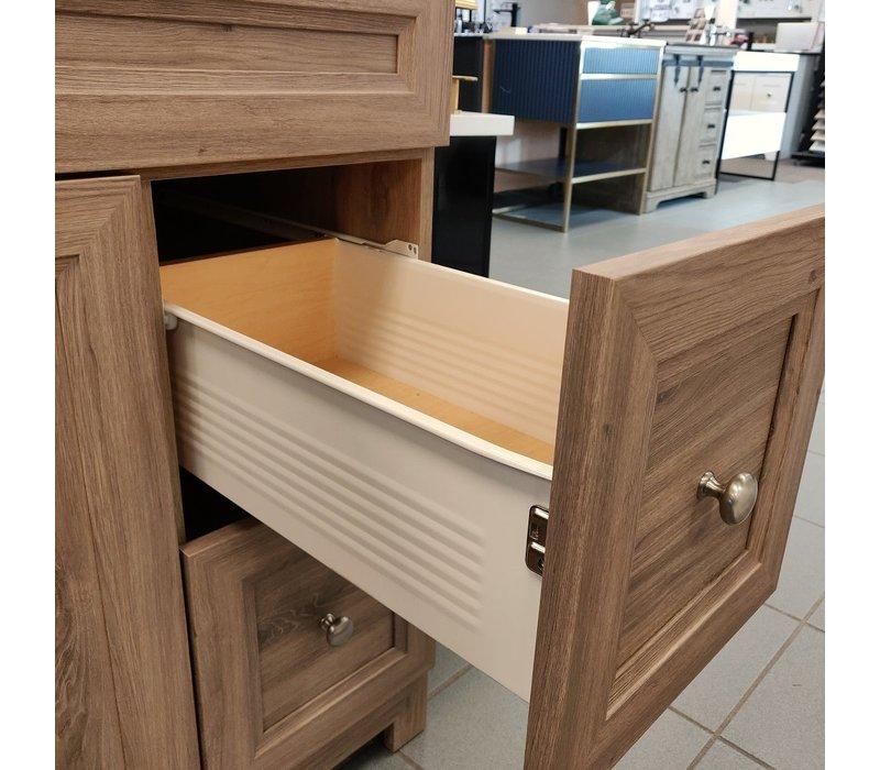 "Cabinetsmith - 36"" metal box vanity - Black top"