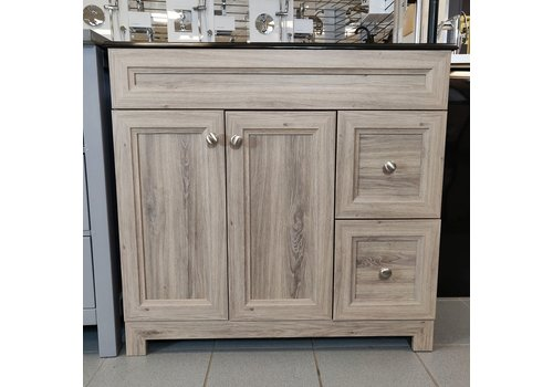"Cabinetsmith Cabinetsmith - 36"" metal box vanity - Black top"