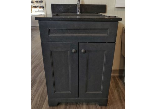 "Classic Brand Cabinetry Classic Brand - 24"" - Vanity Step Charcoal Grey Knobs - Display"