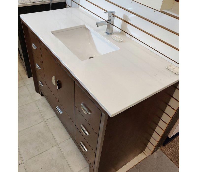 "Tidal - Kodo - Walnut Chrome 49"" Nova White Quartz Rectangular Sink - Single Hole"