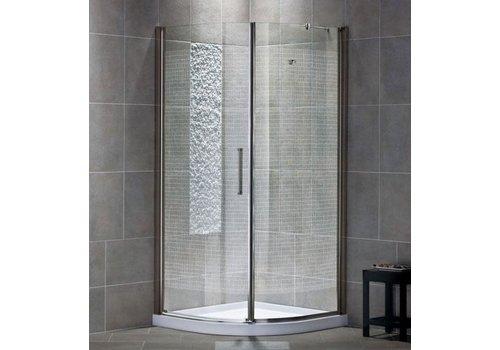 "Kalia - Ultis Pivex Round Frameless Pivot Shower Door Right opening 34"" Chrome Clear"