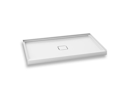Kalia - Kover 60x36 Rectangula Acrylic Shower Base with Central Drain Integrated Tiling Flanges on 3 Sides