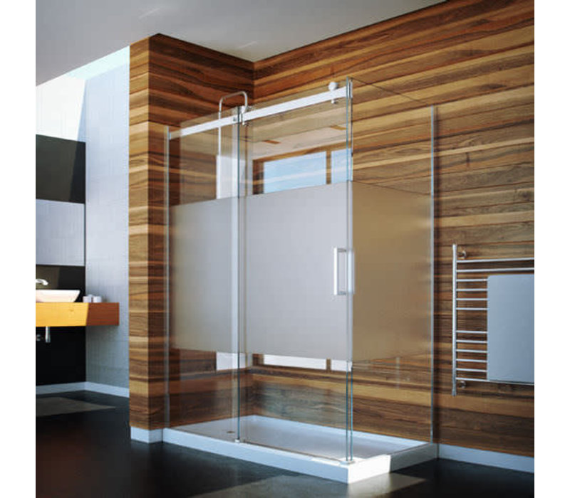 Caml Tomlin - Flow Rolling Shower Door 48 x 32 x74 - Chrome Clear - with return panel