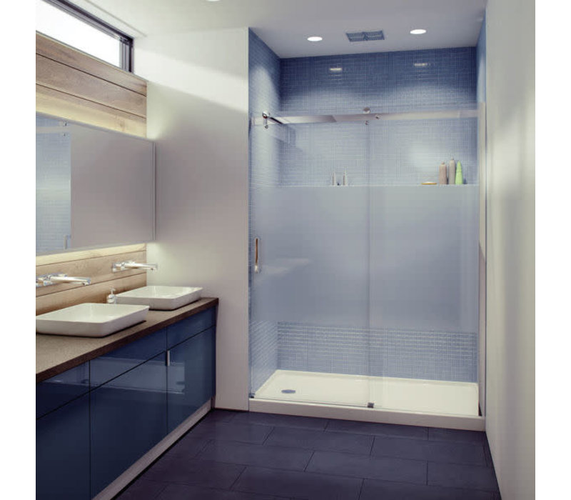 Caml Tomlin - Flow Rolling Shower Door 48 x 74 - Brushed Nickle - Clear