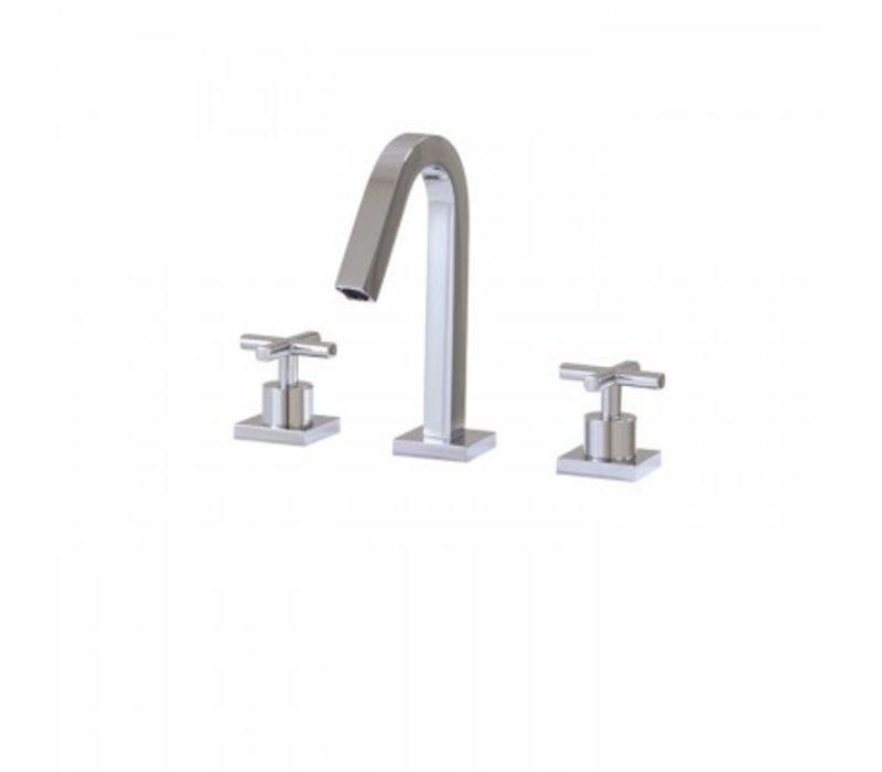 AquaBrass rectangular  short w/lav faucet square Chrome
