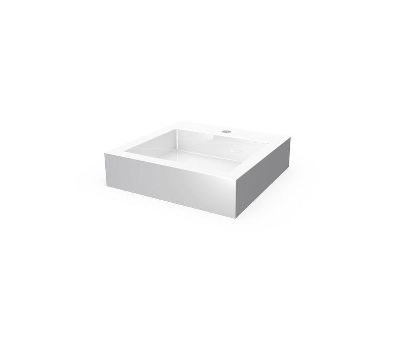 "AquaBrass Lugano Whitet 19"" square countertop basin with hole"