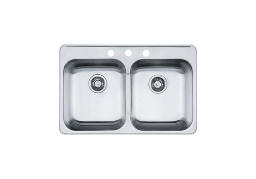 """Kindred Reginox 20.5"""" X 311/4"""" X 7"""" Drop-in 3-Hole  Double Bowl Kitchen Sink"""