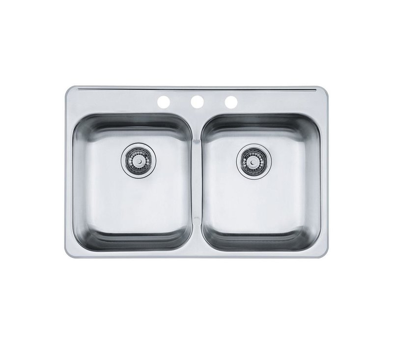 "Reginox 20.5"" X 311/4"" X 7"" Drop-in 3-Hole  Double Bowl Kitchen Sink"