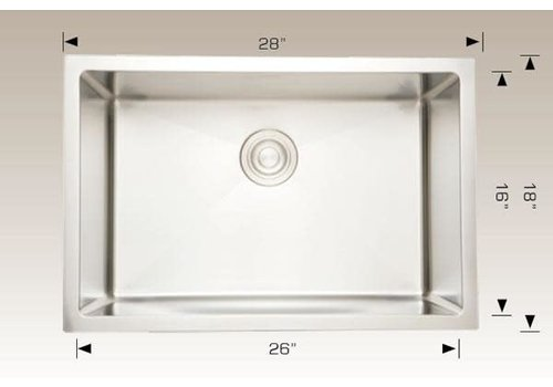 "Bosco Bosco - Titanium Series - Sink - 28""x18""x10"" - 203338"
