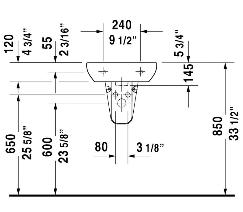 Duravit - D-Code - Handrinse basin - single hole