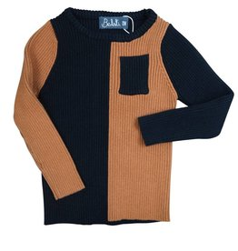 Belati Color Blocking Ribbed Sweater with Pocket Caramel