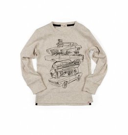 Appaman Graphic Long Sleeve Tee-Car Stack Cloud Heather