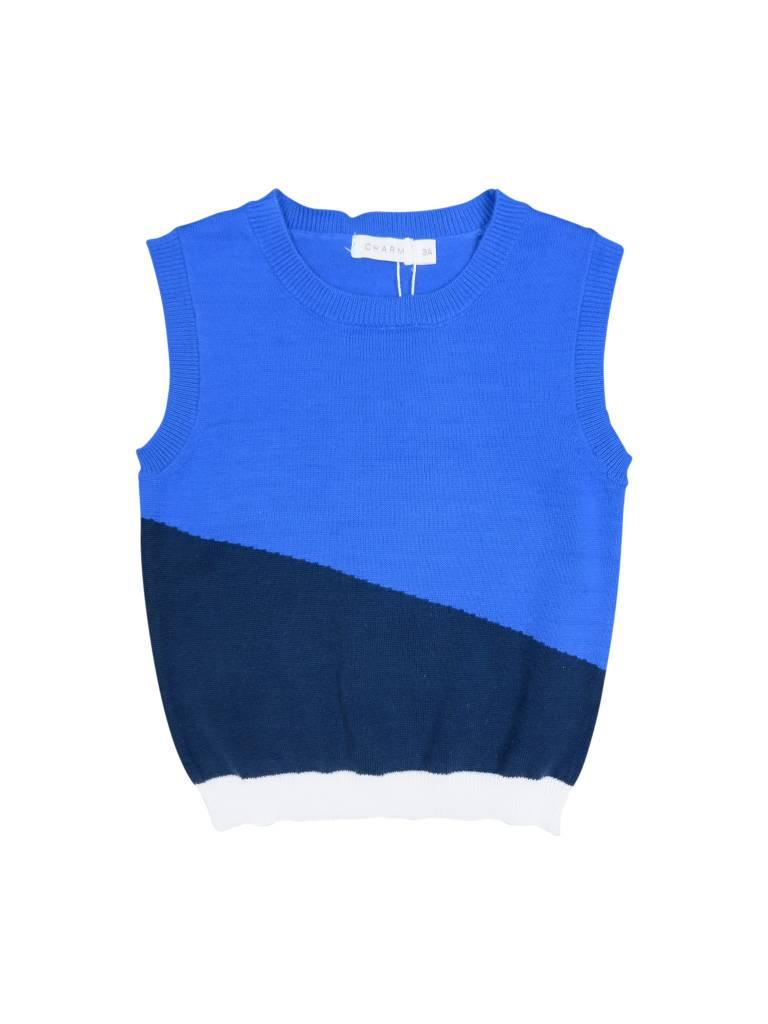 Charm Knit Vest- Blue
