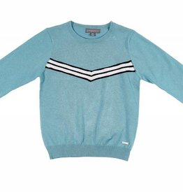 pompomme BOY SWEATER WITH V LUREX BAND BLUE/BLACK/WHITE
