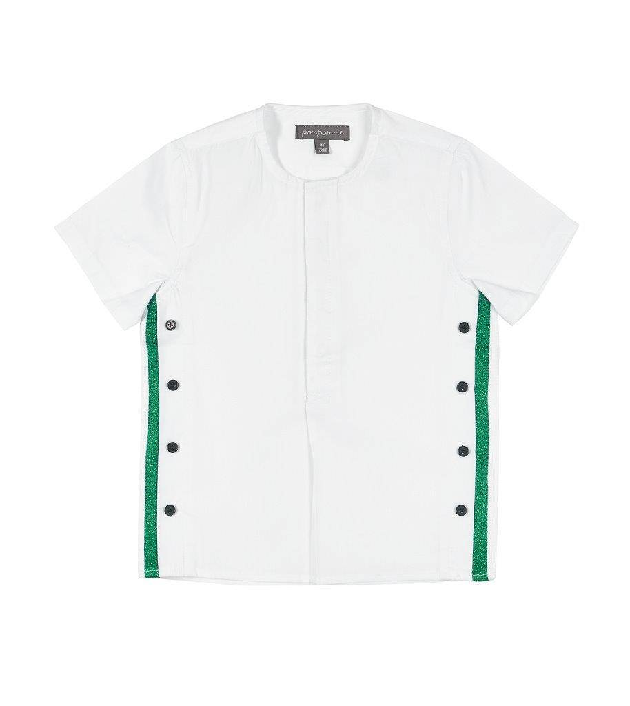 pompomme BOY SHIRT WITH LUREX AT SIDE WHITE/GREEN/NAVY