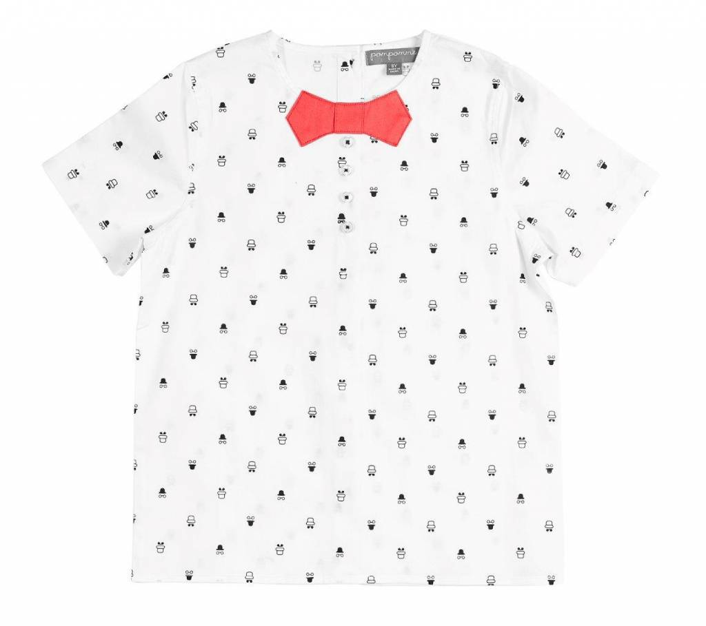 pompomme BOY BOW AT NECK SHIRT WHITE/NAVY/CORAL
