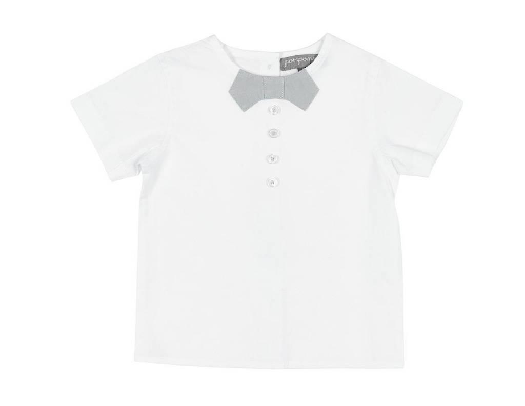 pompomme BOY BOW AT NECK SHIRT WHITE/LIGHT BLUE